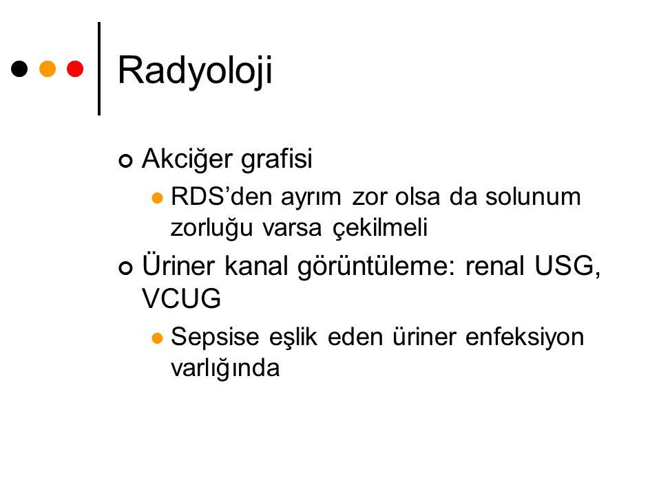 Radyoloji Akciğer grafisi RDS'den ayrım zor olsa da solunum zorluğu varsa çekilmeli Üriner kanal görüntüleme: renal USG, VCUG Sepsise eşlik eden ürine