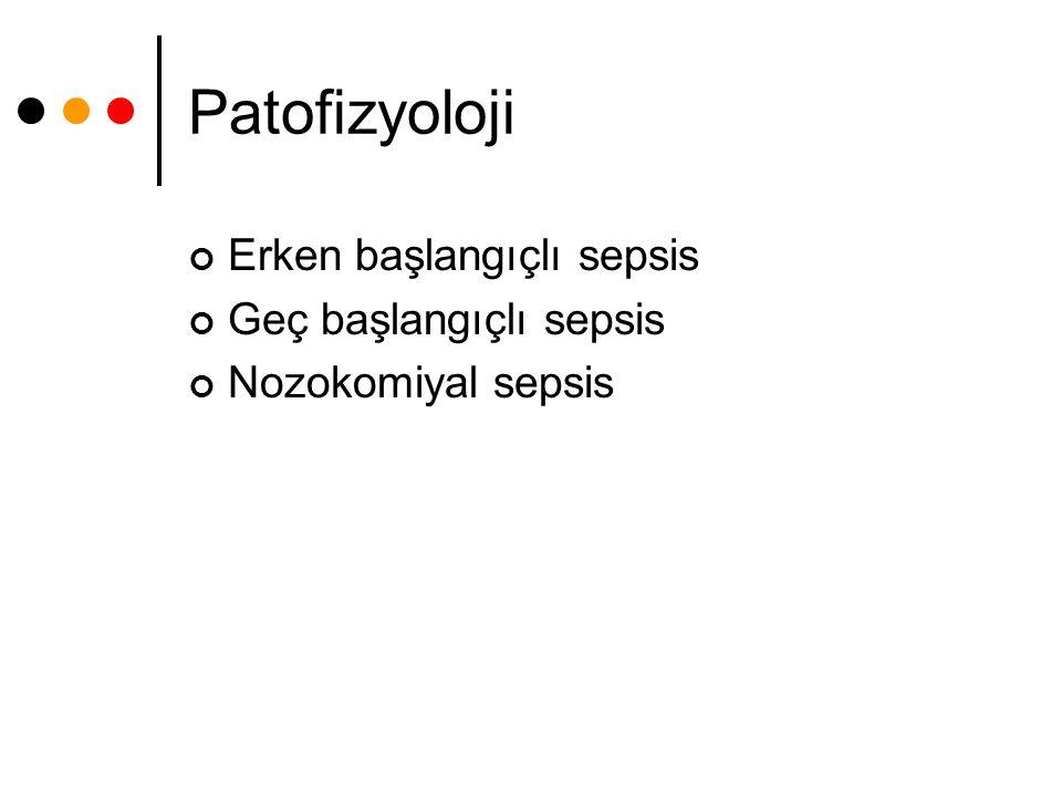 Patofizyoloji Erken başlangıçlı sepsis Geç başlangıçlı sepsis Nozokomiyal sepsis