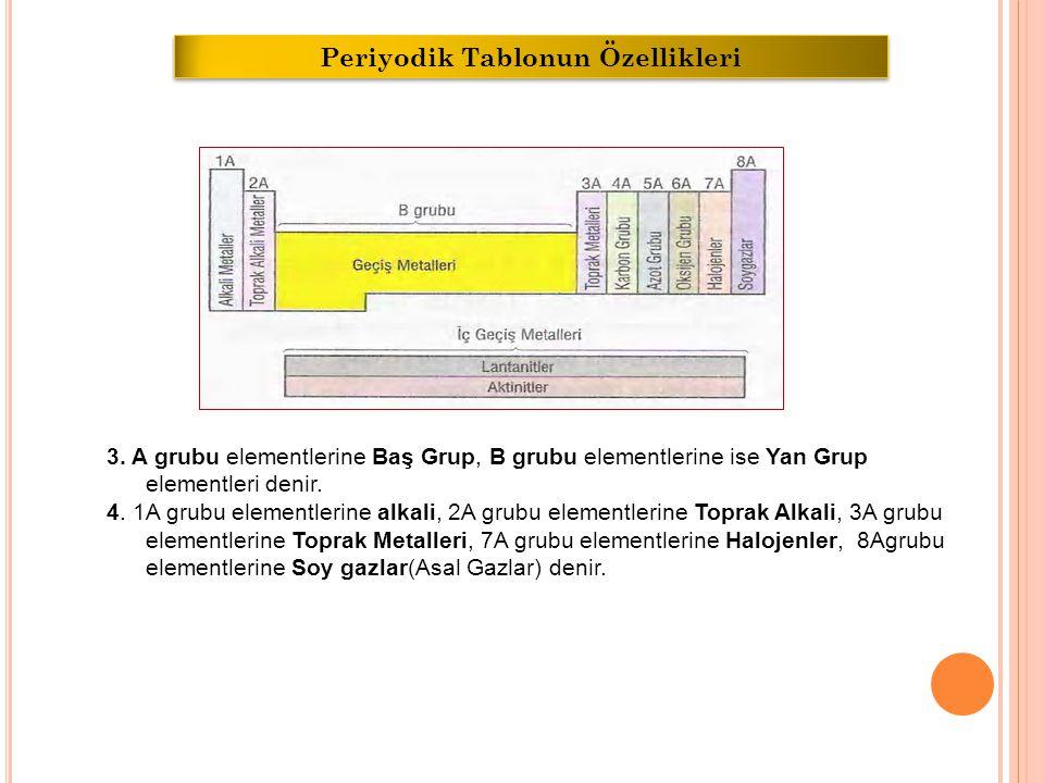 3.A grubu elementlerine Baş Grup, B grubu elementlerine ise Yan Grup elementleri denir.