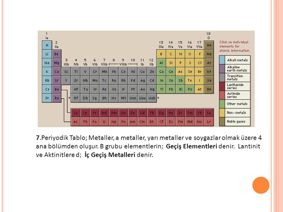 7.Periyodik Tablo; Metaller, a metaller, yarı metaller ve soygazlar olmak üzere 4 ana bölümden oluşur.