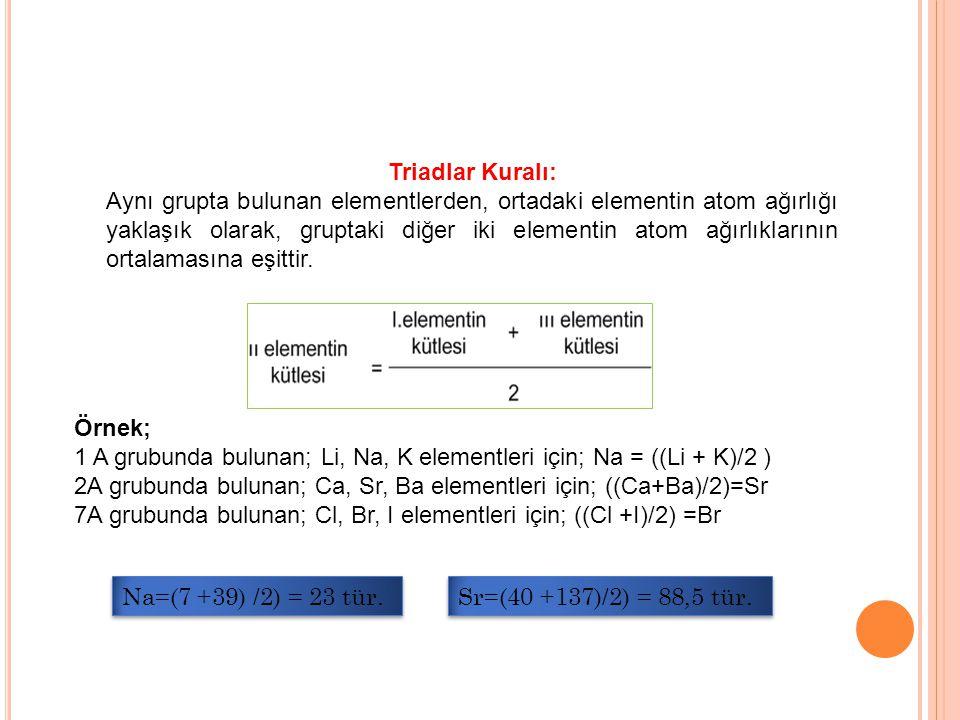 Triadlar Kuralı: Aynı grupta bulunan elementlerden, ortadaki elementin atom ağırlığı yaklaşık olarak, gruptaki diğer iki elementin atom ağırlıklarının ortalamasına eşittir.