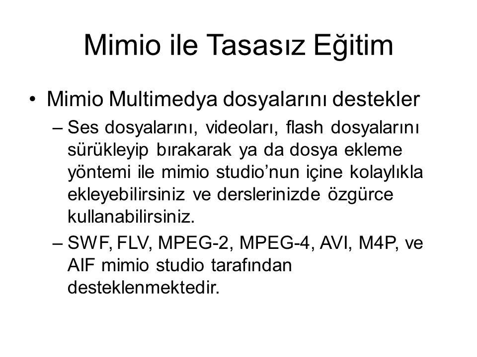 Mimio ile Tasasız Eğitim Mimio Multimedya dosyalarını destekler –Ses dosyalarını, videoları, flash dosyalarını sürükleyip bırakarak ya da dosya ekleme