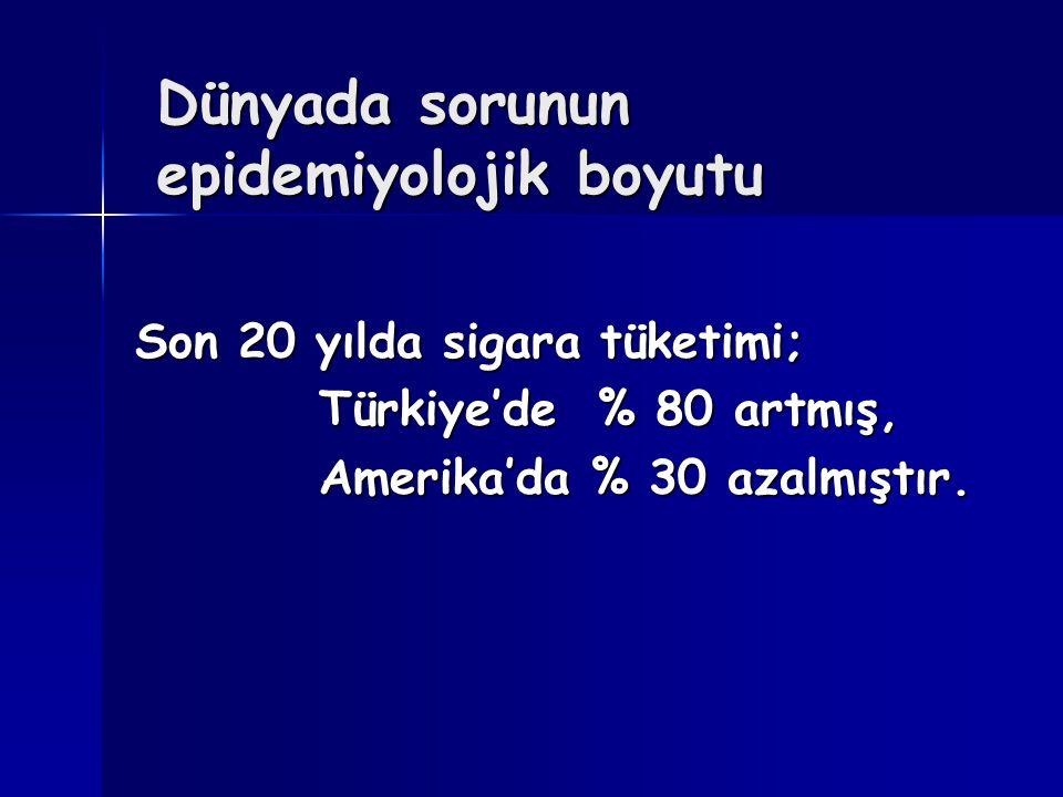 Dünyada sorunun epidemiyolojik boyutu Son 20 yılda sigara tüketimi; Türkiye'de % 80 artmış, Türkiye'de % 80 artmış, Amerika'da % 30 azalmıştır. Amerik