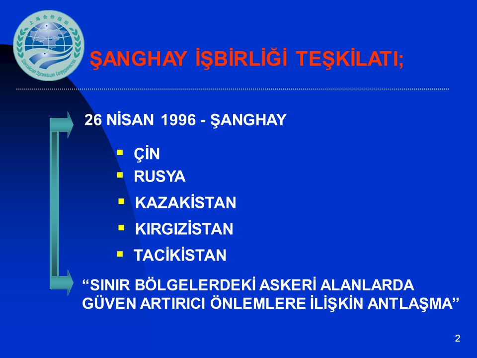 """2  ÇİN  KAZAKİSTAN  RUSYA  KIRGIZİSTAN ŞANGHAY İŞBİRLİĞİ TEŞKİLATI;  TACİKİSTAN 26 NİSAN 1996 - ŞANGHAY """"SINIR BÖLGELERDEKİ ASKERİ ALANLARDA GÜVE"""