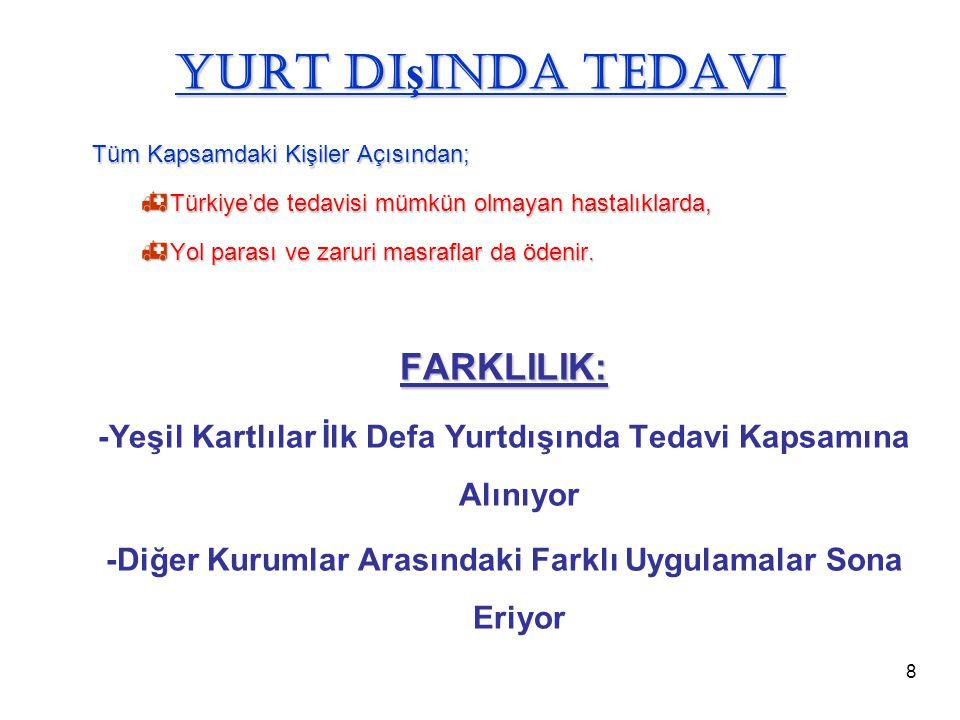 8 Yurt Dı ş ında Tedavi Tüm Kapsamdaki Kişiler Açısından;  Türkiye'de tedavisi mümkün olmayan hastalıklarda,  Yol parası ve zaruri masraflar da öden