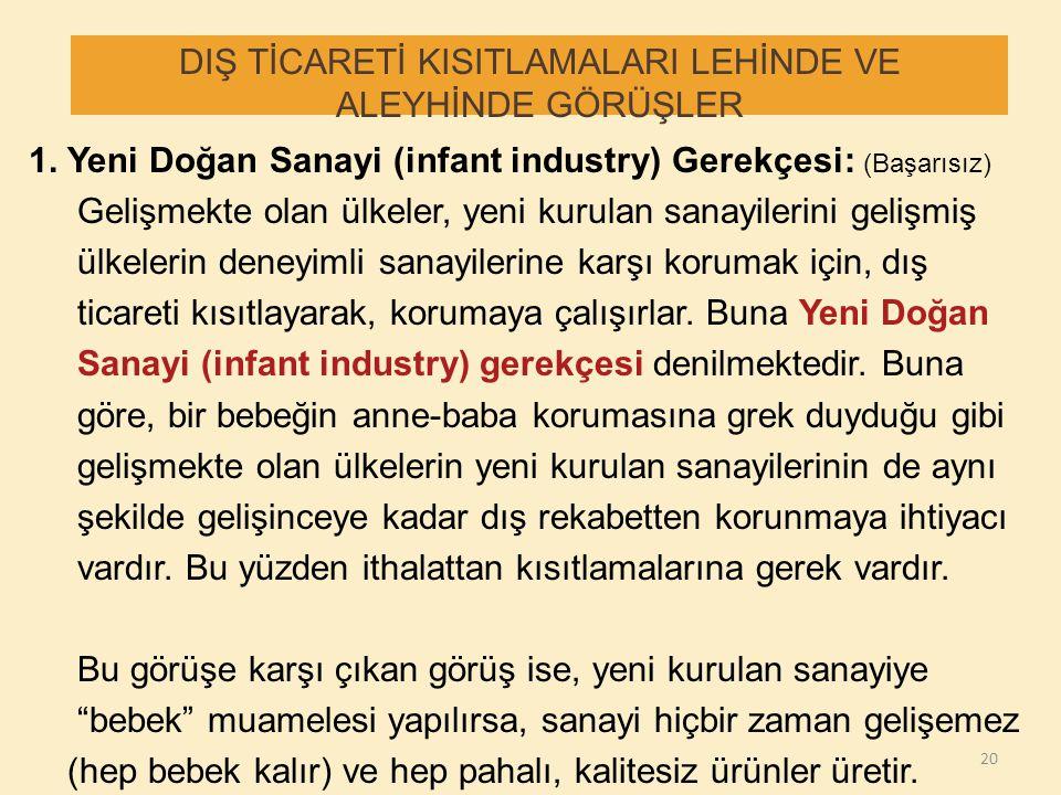 DIŞ TİCARETİ KISITLAMALARI LEHİNDE VE ALEYHİNDE GÖRÜŞLER 1. Yeni Doğan Sanayi (infant industry) Gerekçesi: (Başarısız) Gelişmekte olan ülkeler, yeni k