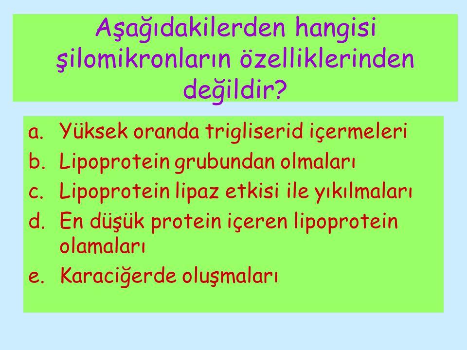 Aşağıdakilerden hangisi şilomikronların özelliklerinden değildir? a.Yüksek oranda trigliserid içermeleri b.Lipoprotein grubundan olmaları c.Lipoprotei