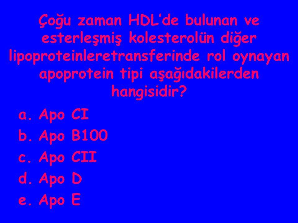 Çoğu zaman HDL'de bulunan ve esterleşmiş kolesterolün diğer lipoproteinleretransferinde rol oynayan apoprotein tipi aşağıdakilerden hangisidir? a.Apo