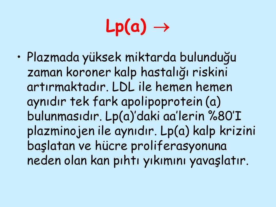 Lp(a)  Plazmada yüksek miktarda bulunduğu zaman koroner kalp hastalığı riskini artırmaktadır. LDL ile hemen hemen aynıdır tek fark apolipoprotein (a)