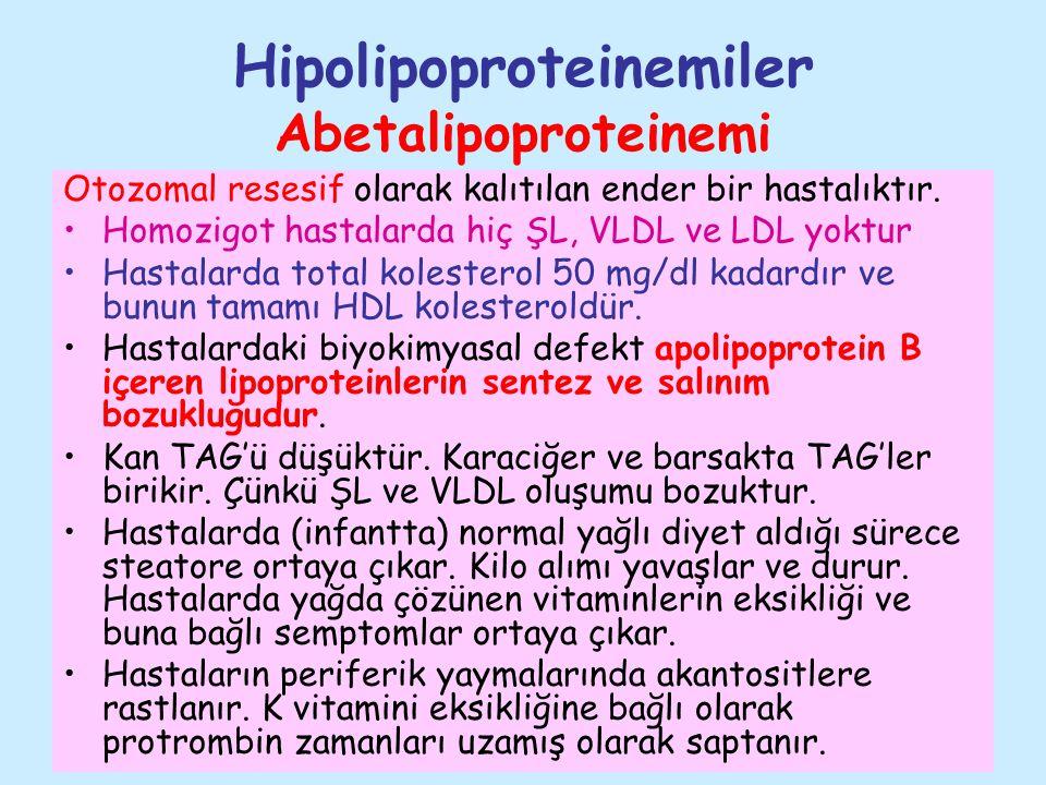Hipolipoproteinemiler Abetalipoproteinemi Otozomal resesif olarak kalıtılan ender bir hastalıktır. Homozigot hastalarda hiç ŞL, VLDL ve LDL yoktur Has