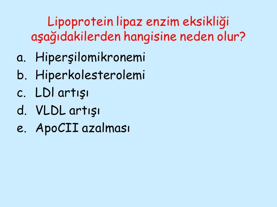Lipoprotein lipaz enzim eksikliği aşağıdakilerden hangisine neden olur? a.Hiperşilomikronemi b.Hiperkolesterolemi c.LDl artışı d.VLDL artışı e.ApoCII
