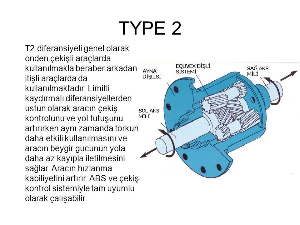 TYPE 2 T2 diferansiyeli genel olarak önden çekişli araçlarda kullanılmakla beraber arkadan itişli araçlarda da kullanılmaktadır. Limitli kaydırmalı di