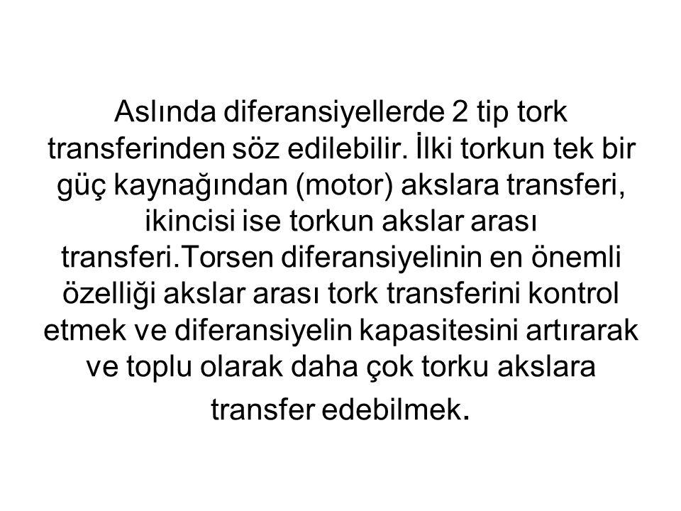 Aslında diferansiyellerde 2 tip tork transferinden söz edilebilir. İlki torkun tek bir güç kaynağından (motor) akslara transferi, ikincisi ise torkun