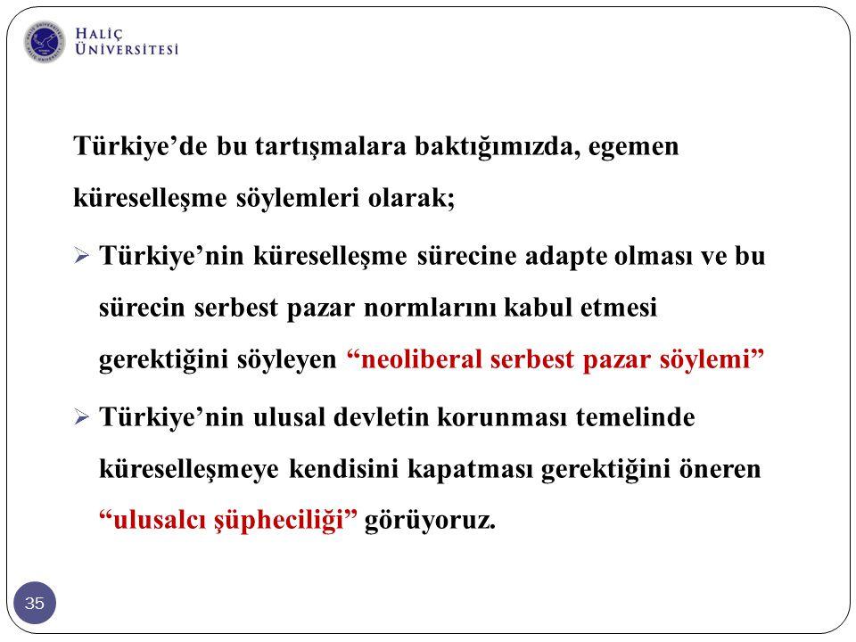 35 Türkiye'de bu tartışmalara baktığımızda, egemen küreselleşme söylemleri olarak;  Türkiye'nin küreselleşme sürecine adapte olması ve bu sürecin ser