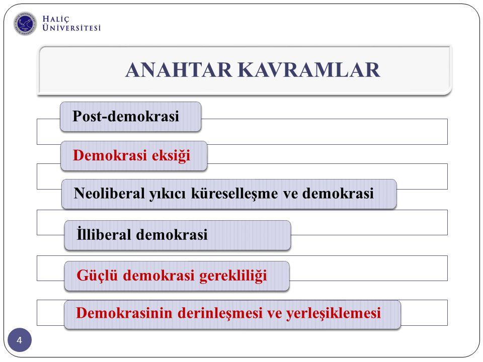35 Türkiye'de bu tartışmalara baktığımızda, egemen küreselleşme söylemleri olarak;  Türkiye'nin küreselleşme sürecine adapte olması ve bu sürecin serbest pazar normlarını kabul etmesi gerektiğini söyleyen neoliberal serbest pazar söylemi  Türkiye'nin ulusal devletin korunması temelinde küreselleşmeye kendisini kapatması gerektiğini öneren ulusalcı şüpheciliği görüyoruz.