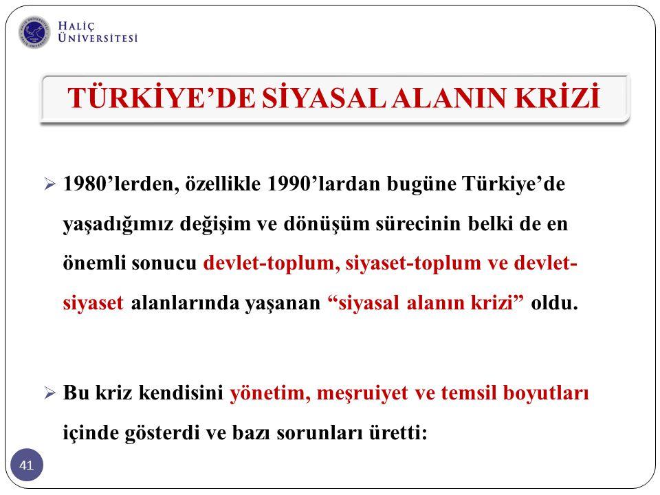 41  1980'lerden, özellikle 1990'lardan bugüne Türkiye'de yaşadığımız değişim ve dönüşüm sürecinin belki de en önemli sonucu devlet-toplum, siyaset-to