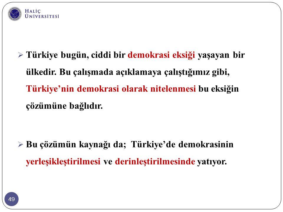 49  Türkiye bugün, ciddi bir demokrasi eksiği yaşayan bir ülkedir. Bu çalışmada açıklamaya çalıştığımız gibi, Türkiye'nin demokrasi olarak nitelenmes