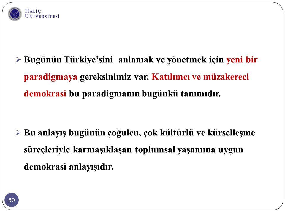 50  Bugünün Türkiye'sini anlamak ve yönetmek için yeni bir paradigmaya gereksinimiz var. Katılımcı ve müzakereci demokrasi bu paradigmanın bugünkü ta