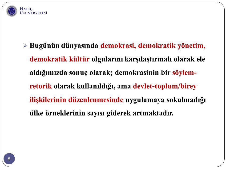 49  Türkiye bugün, ciddi bir demokrasi eksiği yaşayan bir ülkedir.