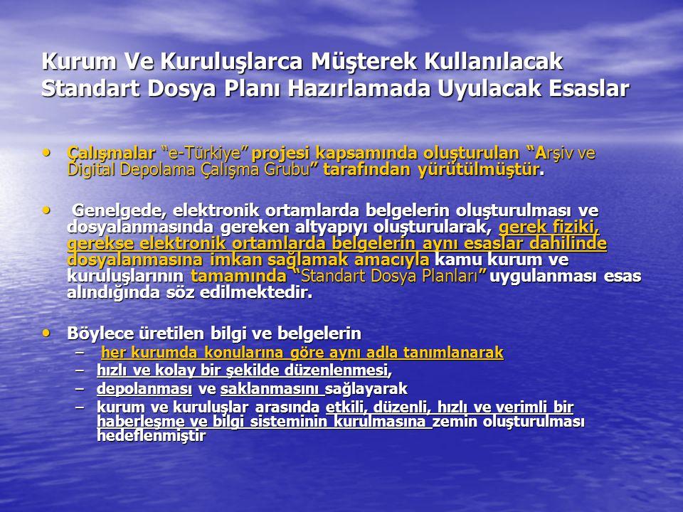 Kurum Ve Kuruluşlarca Müşterek Kullanılacak Standart Dosya Planı Hazırlamada Uyulacak Esaslar Çalışmalar e-Türkiye projesi kapsamında oluşturulan Arşiv ve Digital Depolama Çalışma Grubu tarafından yürütülmüştür.