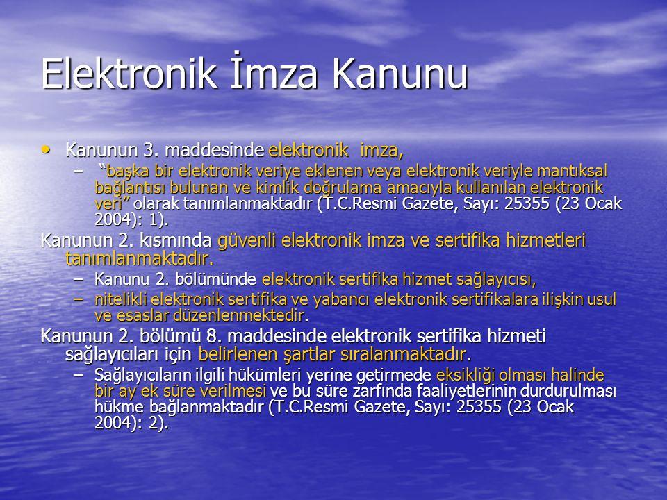 Elektronik İmza Kanunu Kanunun 3.maddesinde elektronik imza, Kanunun 3.