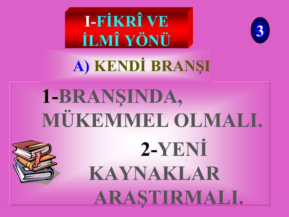 I-FİKRÎ I-FİKRÎ VE İLMÎ YÖNÜNÜ GELİŞTİRMESİ III-MORAL GÜCÜ II-HÜSN-Ü AHLAK AHLAK 2 ÖĞRETMEN' İN KENDİNİ YENİLEMESİ
