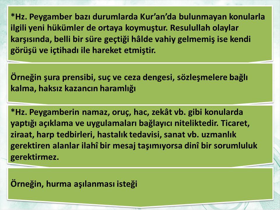 Hadis ve Sünnetin Bağlayıcılığı *Hadis ve sünnet,Kur'an-ı Kerim'de yer alan hükümleri açıklar ve bunun yanı sıra Müslümanlar için önem arz eden bazı k
