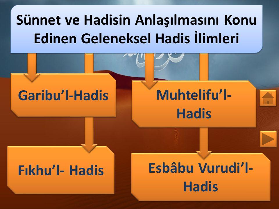 KONULAR 1. Sünnet ve Hadisin Anlaşılmasını Konu Edinen Geleneksel Hadis İlimleri 1.1. Garibu'l-Hadis 1.2. Muhtelifu'l- Hadis 1.3. Fıkhu'l- Hadis 1.4.