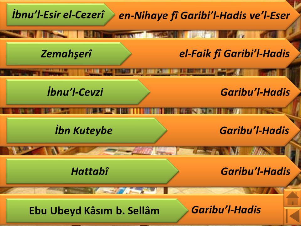 el-Faik fî Garibi'l-Hadis Garibu'l-Hadis en-Nihaye fî Garibi'l-Hadis ve'l-Eser İbnu'l-Esir el-Cezerî Zemahşerî İbnu'l-Cevzi İbn Kuteybe Hattabî Ebu Ubeyd Kâsım b.