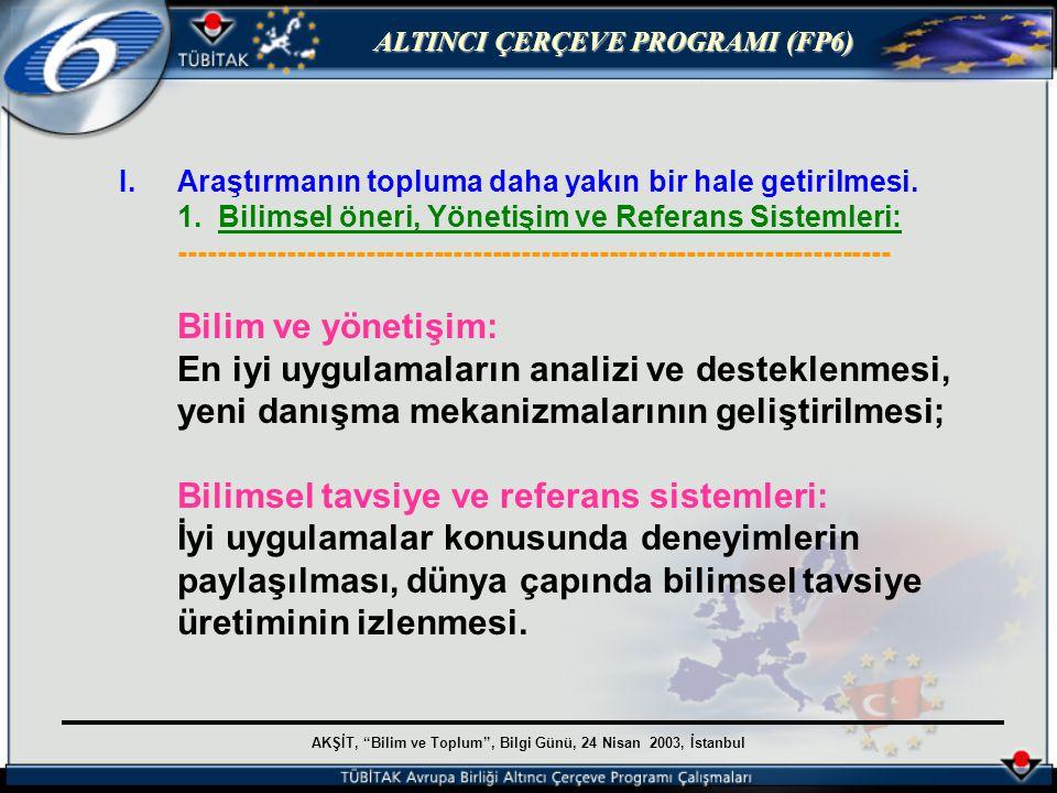 AKŞİT, Bilim ve Toplum , Bilgi Günü, 24 Nisan 2003, İstanbul ALTINCI ÇERÇEVE PROGRAMI (FP6) I.Araştırmanın topluma daha yakın bir hale getirilmesi.