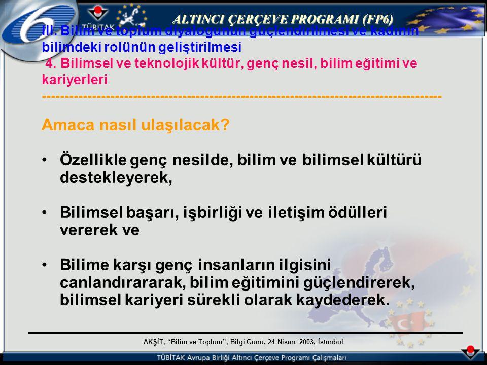 AKŞİT, Bilim ve Toplum , Bilgi Günü, 24 Nisan 2003, İstanbul ALTINCI ÇERÇEVE PROGRAMI (FP6) III.