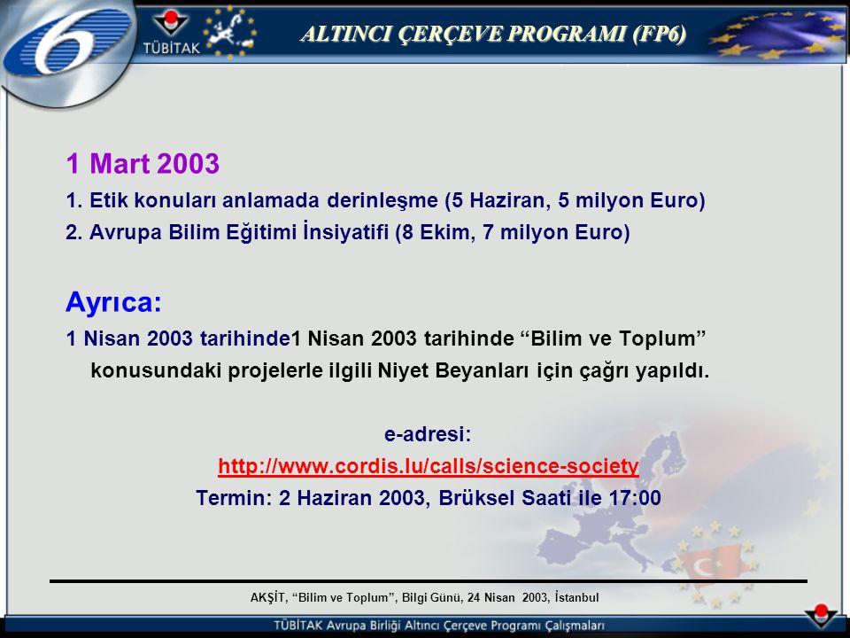 AKŞİT, Bilim ve Toplum , Bilgi Günü, 24 Nisan 2003, İstanbul ALTINCI ÇERÇEVE PROGRAMI (FP6) 1 Mart 2003 1.