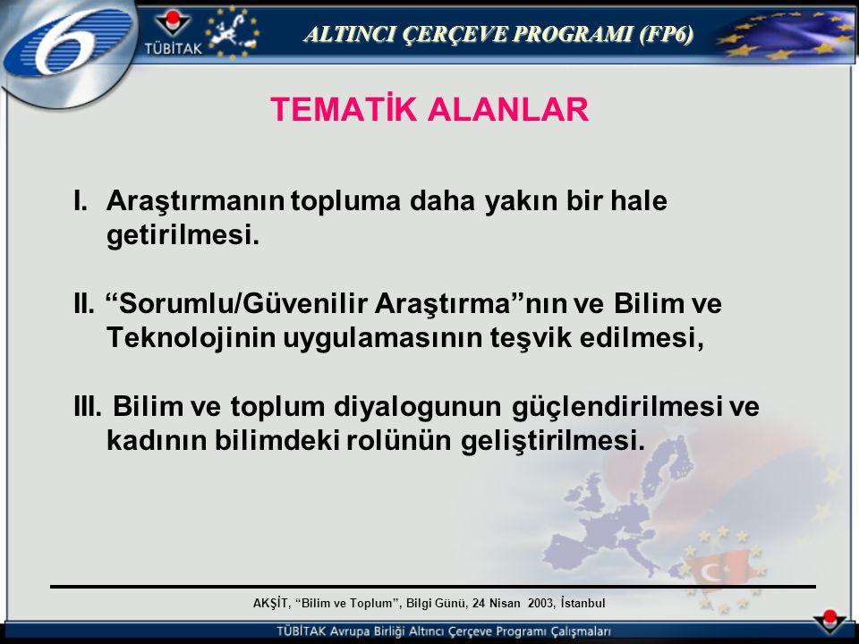 AKŞİT, Bilim ve Toplum , Bilgi Günü, 24 Nisan 2003, İstanbul ALTINCI ÇERÇEVE PROGRAMI (FP6) TEMATİK ALANLAR I.Araştırmanın topluma daha yakın bir hale getirilmesi.