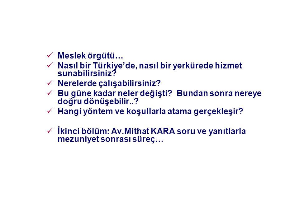 Meslek örgütü… Nasıl bir Türkiye'de, nasıl bir yerkürede hizmet sunabilirsiniz? Nerelerde çalışabilirsiniz? Bu güne kadar neler değişti? Bundan sonra