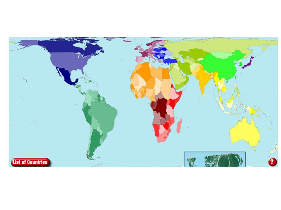 2050 yılında yerkürenin NÜFUS YOĞUNLUĞUNA göre durumu (http://www.worldmapper.org/display.php?selected=11)http://www.worldmapper.org/display.php?selected=11 9.07 milyar %62 - Afrika, Güney ve Doğu Asya