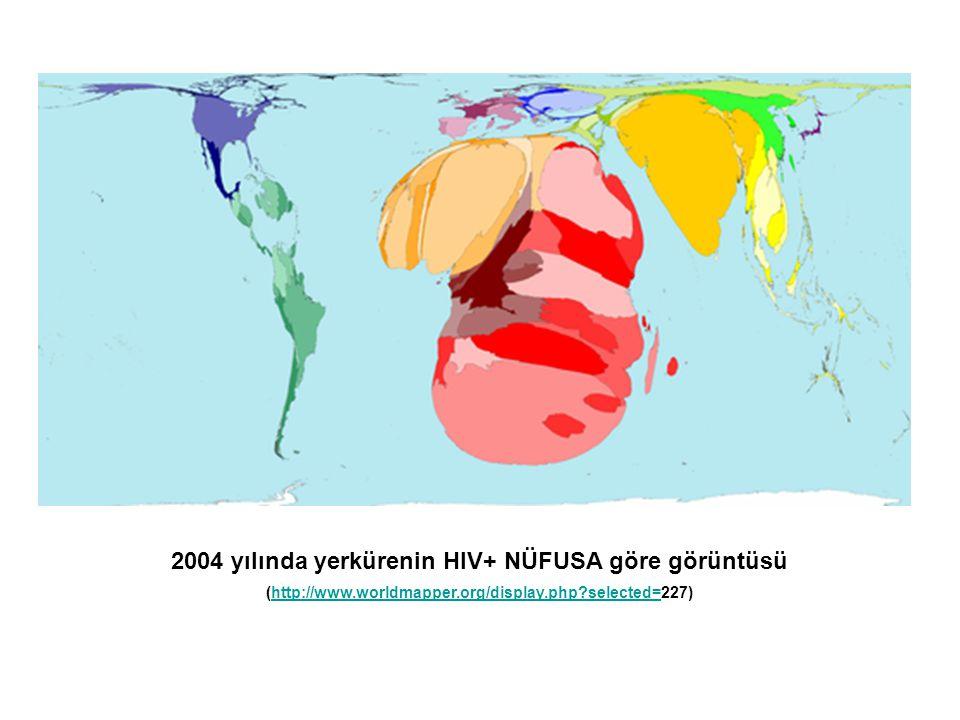 2004 yılında yerkürenin HIV+ NÜFUSA göre görüntüsü (http://www.worldmapper.org/display.php?selected=227)http://www.worldmapper.org/display.php?selecte