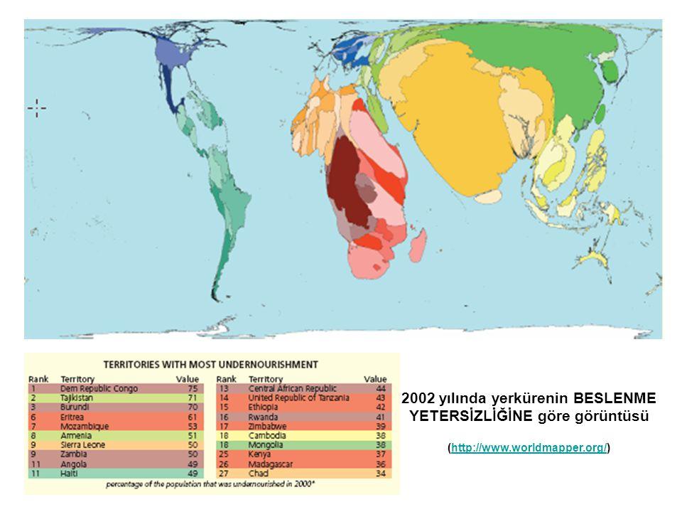 2002 yılında yerkürenin BESLENME YETERSİZLİĞİNE göre görüntüsü (http://www.worldmapper.org/)http://www.worldmapper.org/
