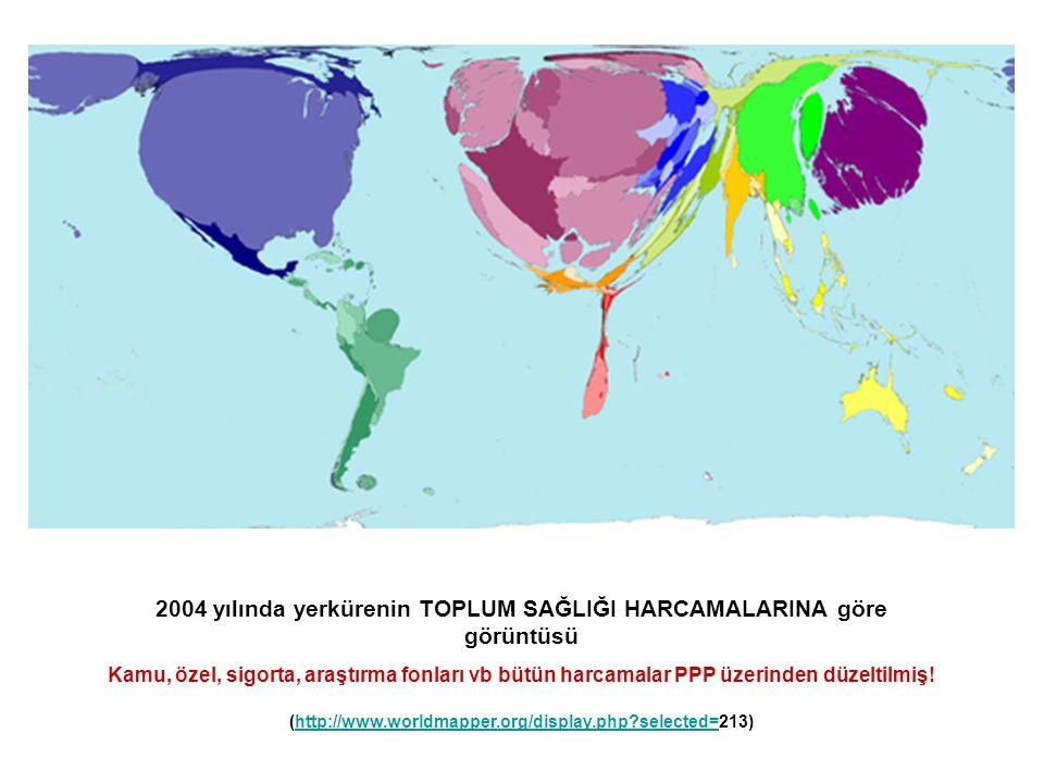 2004 yılında yerkürenin TOPLUM SAĞLIĞI HARCAMALARINA göre görüntüsü Kamu, özel, sigorta, araştırma fonları vb bütün harcamalar PPP üzerinden düzeltilm