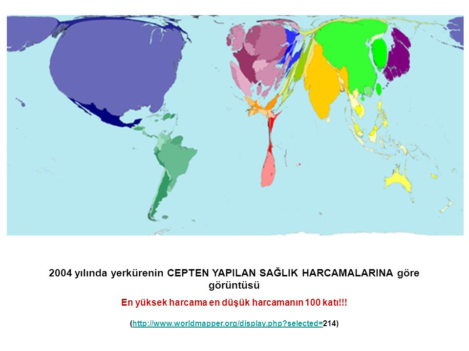 2004 yılında yerkürenin CEPTEN YAPILAN SAĞLIK HARCAMALARINA göre görüntüsü En yüksek harcama en düşük harcamanın 100 katı!!! (http://www.worldmapper.o
