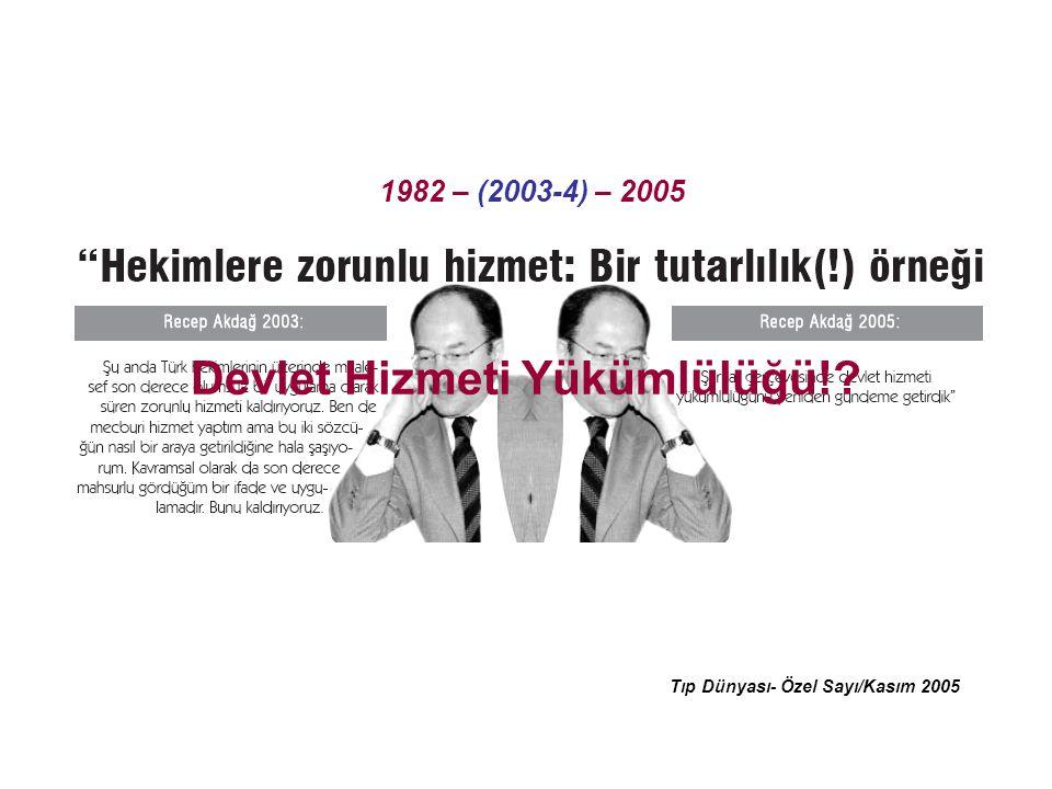 Tıp Dünyası- Özel Sayı/Kasım 2005 1982 – (2003-4) – 2005 Devlet Hizmeti Yükümlülüğü!?