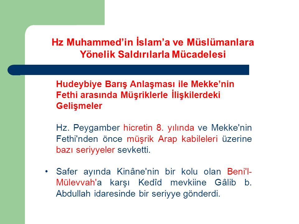 Hudeybiye Barış Anlaşması ile Mekke'nin Fethi arasında Müşriklerle İlişkilerdeki Gelişmeler Hz. Peygamber hicretin 8. yılında ve Mekke'nin Fethi'nden