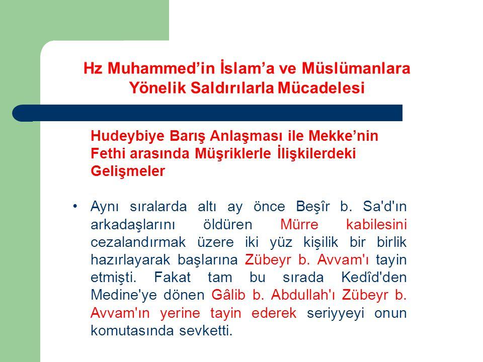 Hudeybiye Barış Anlaşması ile Mekke'nin Fethi arasında Müşriklerle İlişkilerdeki Gelişmeler Aynı sıralarda altı ay önce Beşîr b. Sa'd'ın arkadaşlarını