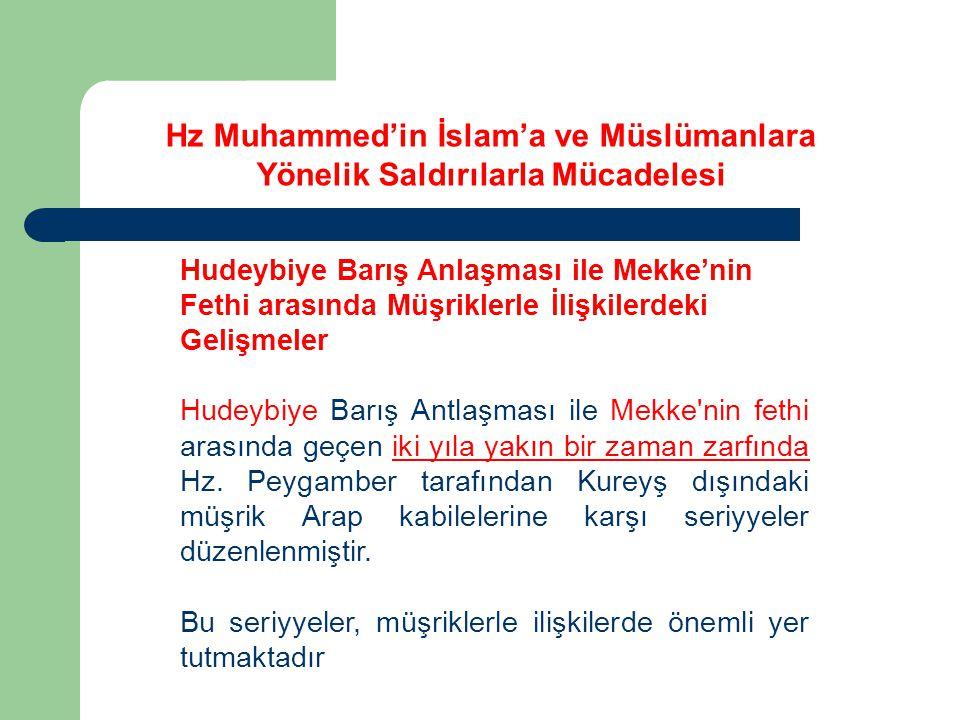 Hz Muhammed'in İslam'a ve Müslümanlara Yönelik Saldırılarla Mücadelesi Hudeybiye Barış Anlaşması ile Mekke'nin Fethi arasında Müşriklerle İlişkilerdeki Gelişmeler Hudeybiye Barış Antlaşması ile Mekke nin fethi arasında geçen iki yıla yakın bir zaman zarfında Hz.