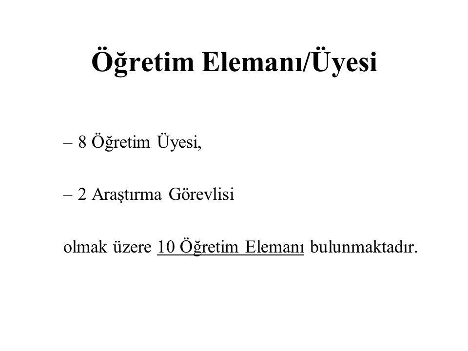 Öğretim Elemanı/Üyesi –8 Öğretim Üyesi, –2 Araştırma Görevlisi olmak üzere 10 Öğretim Elemanı bulunmaktadır.
