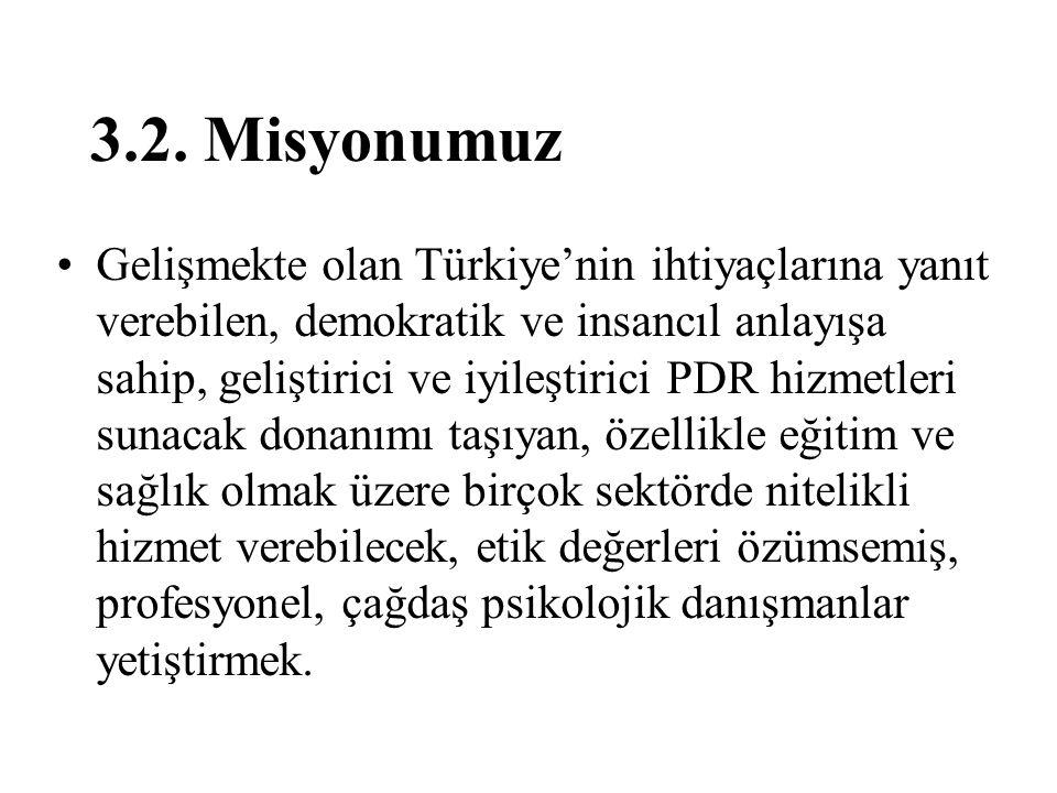 3.2. Misyonumuz Gelişmekte olan Türkiye'nin ihtiyaçlarına yanıt verebilen, demokratik ve insancıl anlayışa sahip, geliştirici ve iyileştirici PDR hizm