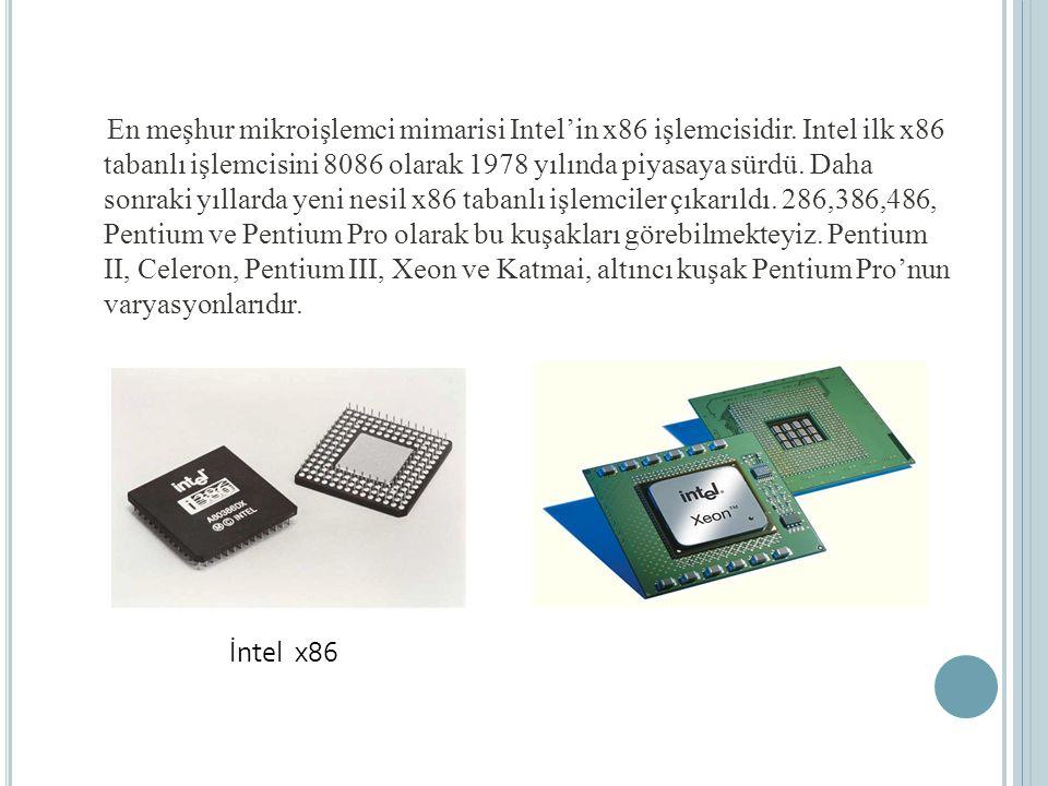 En meşhur mikroişlemci mimarisi Intel'in x86 işlemcisidir.