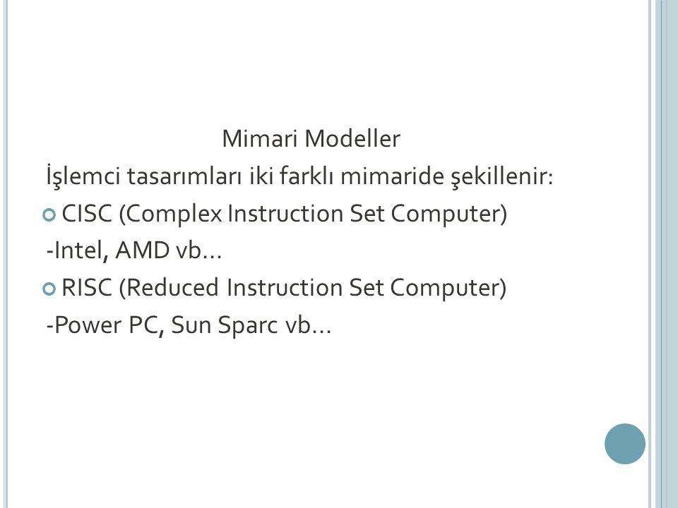 Mimari Modeller İşlemci tasarımları iki farklı mimaride şekillenir: CISC (Complex Instruction Set Computer) -Intel, AMD vb...