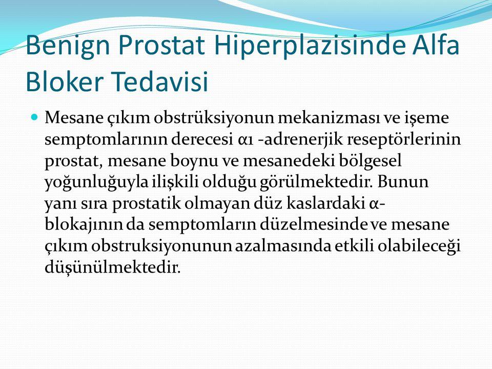 Benign Prostat Hiperplazisinde Alfa Bloker Tedavisi Mesane çıkım obstrüksiyonun mekanizması ve işeme semptomlarının derecesi α1 -adrenerjik reseptörle