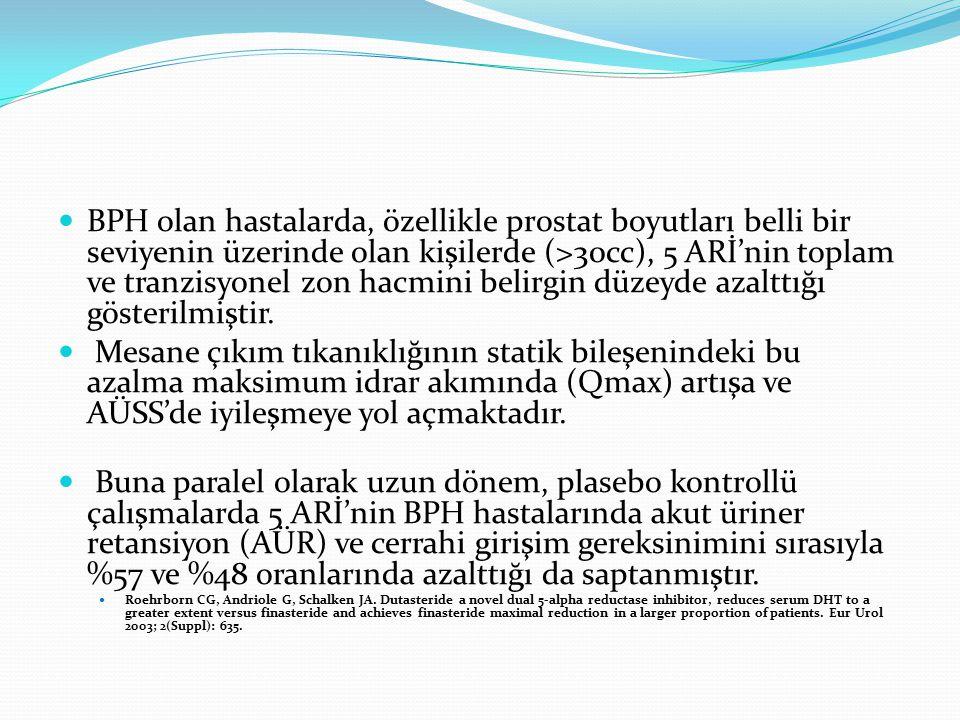 BPH olan hastalarda, özellikle prostat boyutları belli bir seviyenin üzerinde olan kişilerde (>30cc), 5 ARİ'nin toplam ve tranzisyonel zon hacmini bel