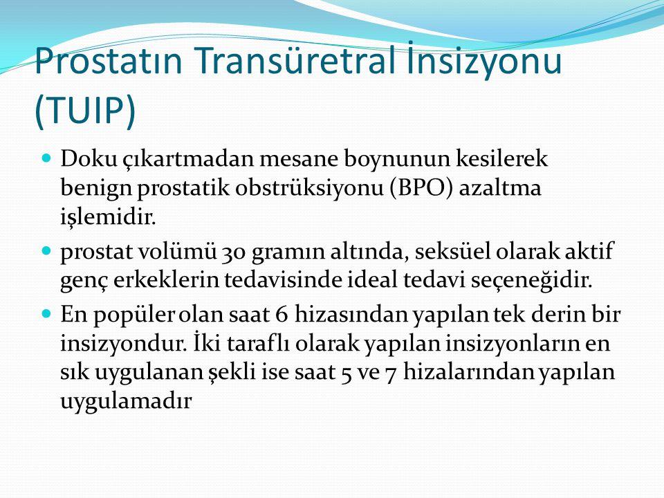 Prostatın Transüretral İnsizyonu (TUIP) Doku çıkartmadan mesane boynunun kesilerek benign prostatik obstrüksiyonu (BPO) azaltma işlemidir. prostat vol